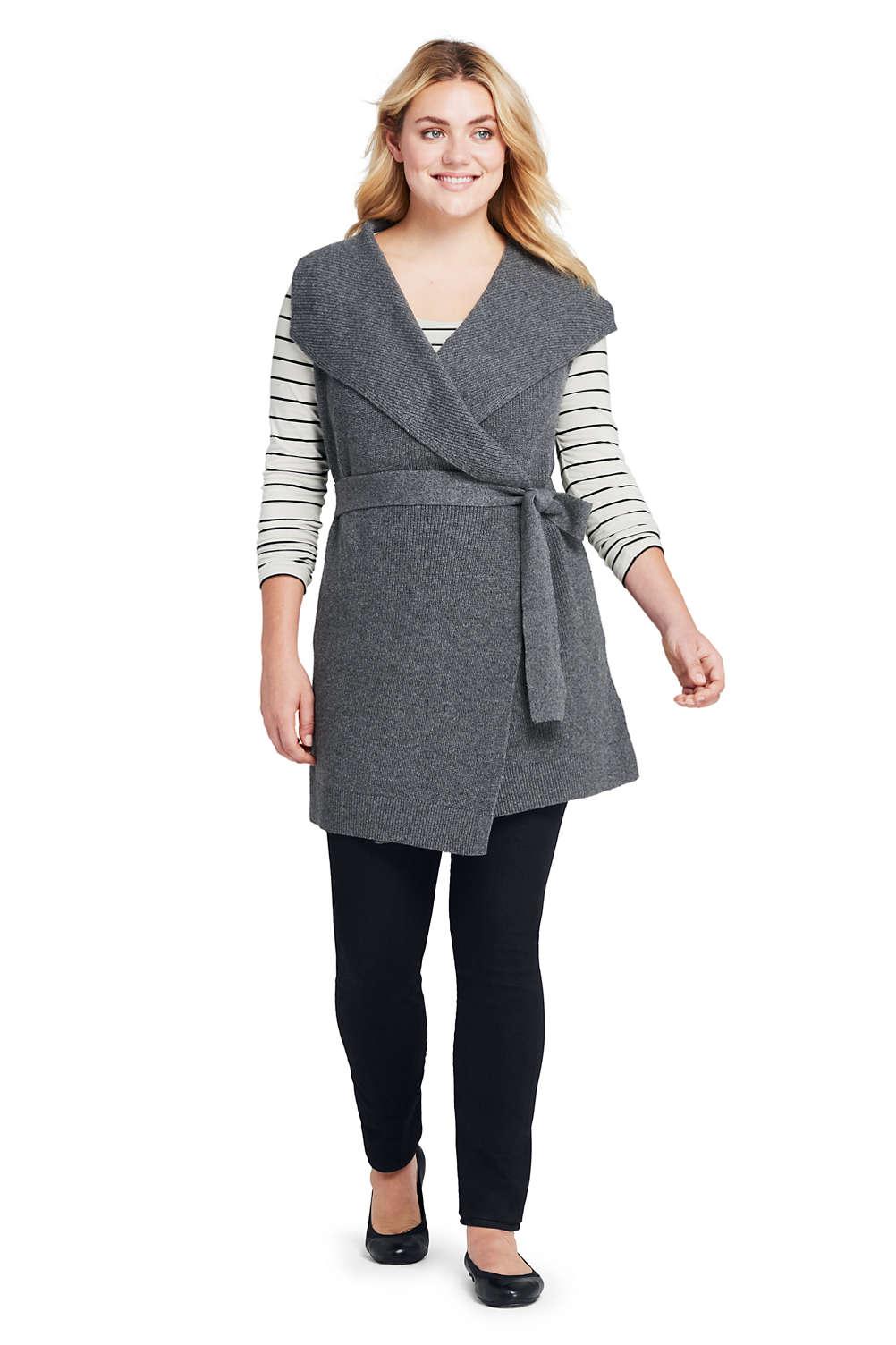 a1ffdb66663 Women s Plus Size Sleeveless Lofty Blend Tie Sweater Vest from Lands ...