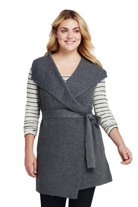 Women's Plus Size Sleeveless Lofty Blend Tie Sweater Vest