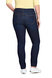 Women's Plus Size Elastic Waist Pull On Skinny Legging Jeans - Blue, Back