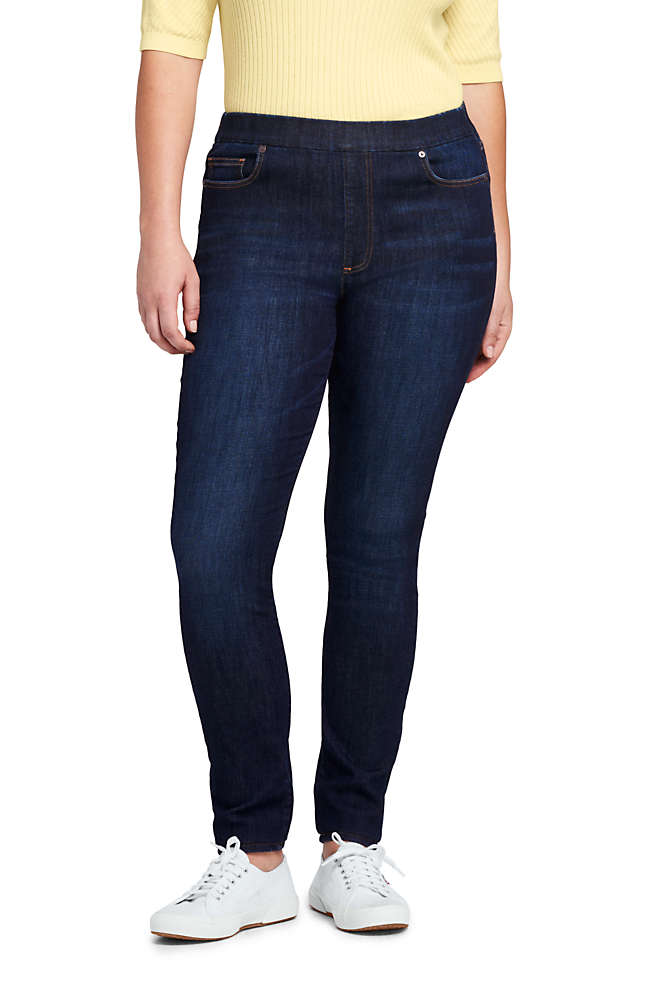 Women's Plus Size Elastic Waist Pull On Skinny Legging Jeans - Blue, Front