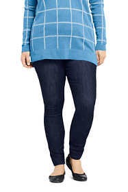 Women's Plus Size Elastic Waist Pull On Skinny Legging Jeans - Blue