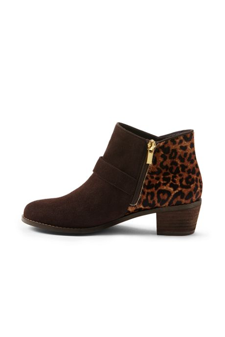 Women's  Block Heel Calf Hair Buckle Booties