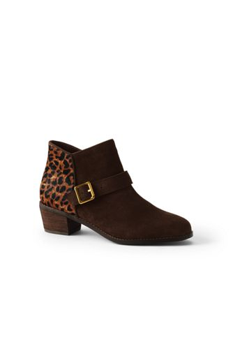 Women's Suede Ankle Boots with Leopard Print