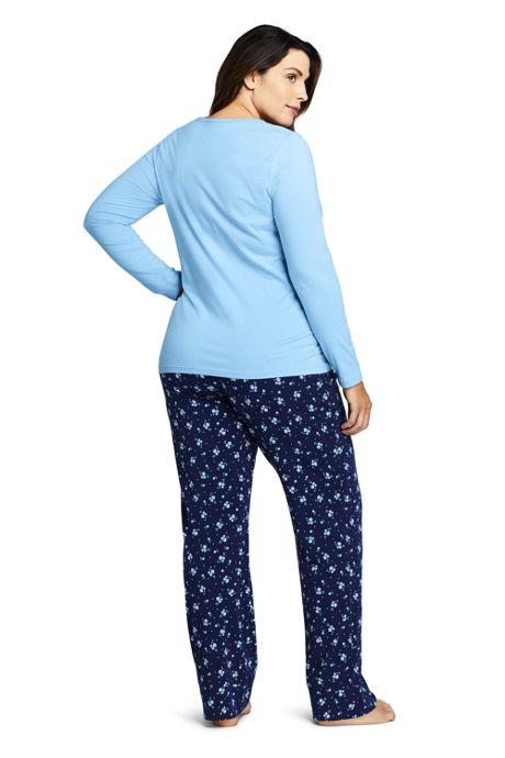 Women's Plus Size Lightweight Cotton Modal Pajama Sleep Set Print Long Sleeve