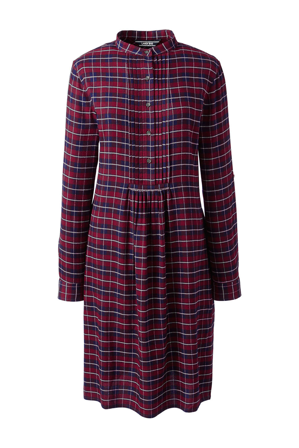 Women\'s Plus Size Long Sleeve Print Tuxedo Bib Shirt Dress