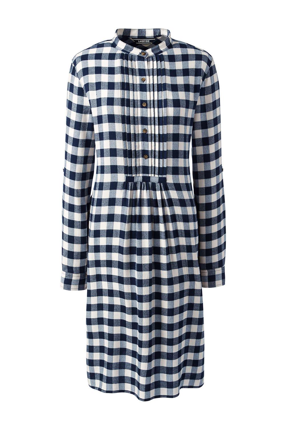 durable service buy reasonable price Women's Long Sleeve Print Tuxedo Bib Shirt Dress