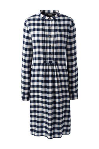 Women's Long Sleeve Tuxedo Bib Woven Dress
