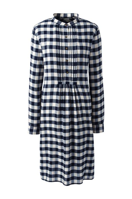Women's Petite Long Sleeve Print Tuxedo Bib Shirt Dress