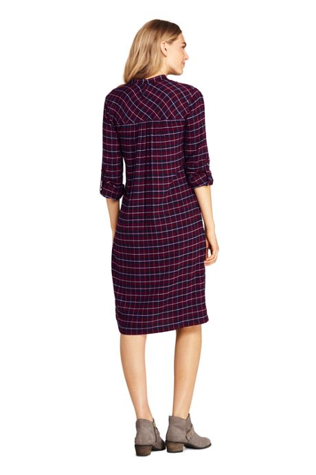 Women's Tall Long Sleeve Print Tuxedo Bib Shirt Dress