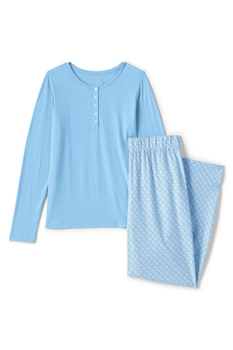 Women's Plus Size Lightweight Cotton Modal Pajama Sleep Set Print Long Sleeve