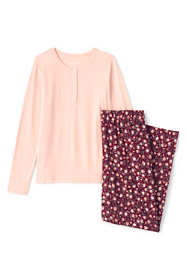 Women's Petite Lightweight Cotton Modal Pajama Sleep Set Print Long Sleeve