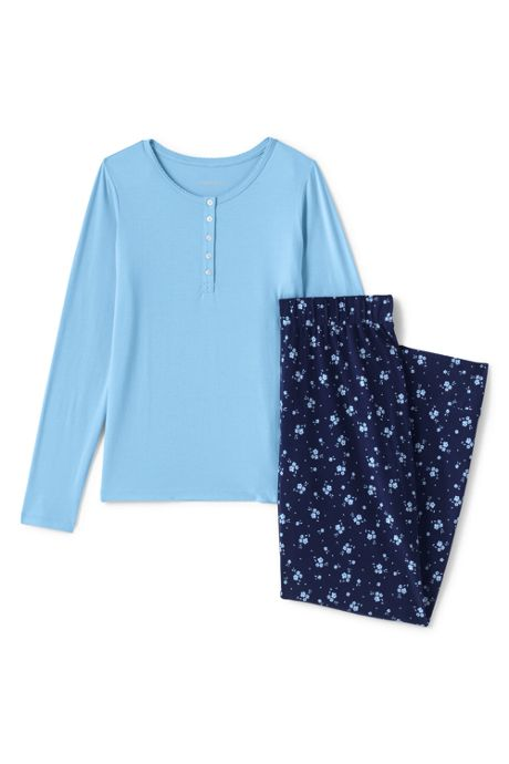Women's Lightweight Cotton Modal Pajama Sleep Set Print Long Sleeve