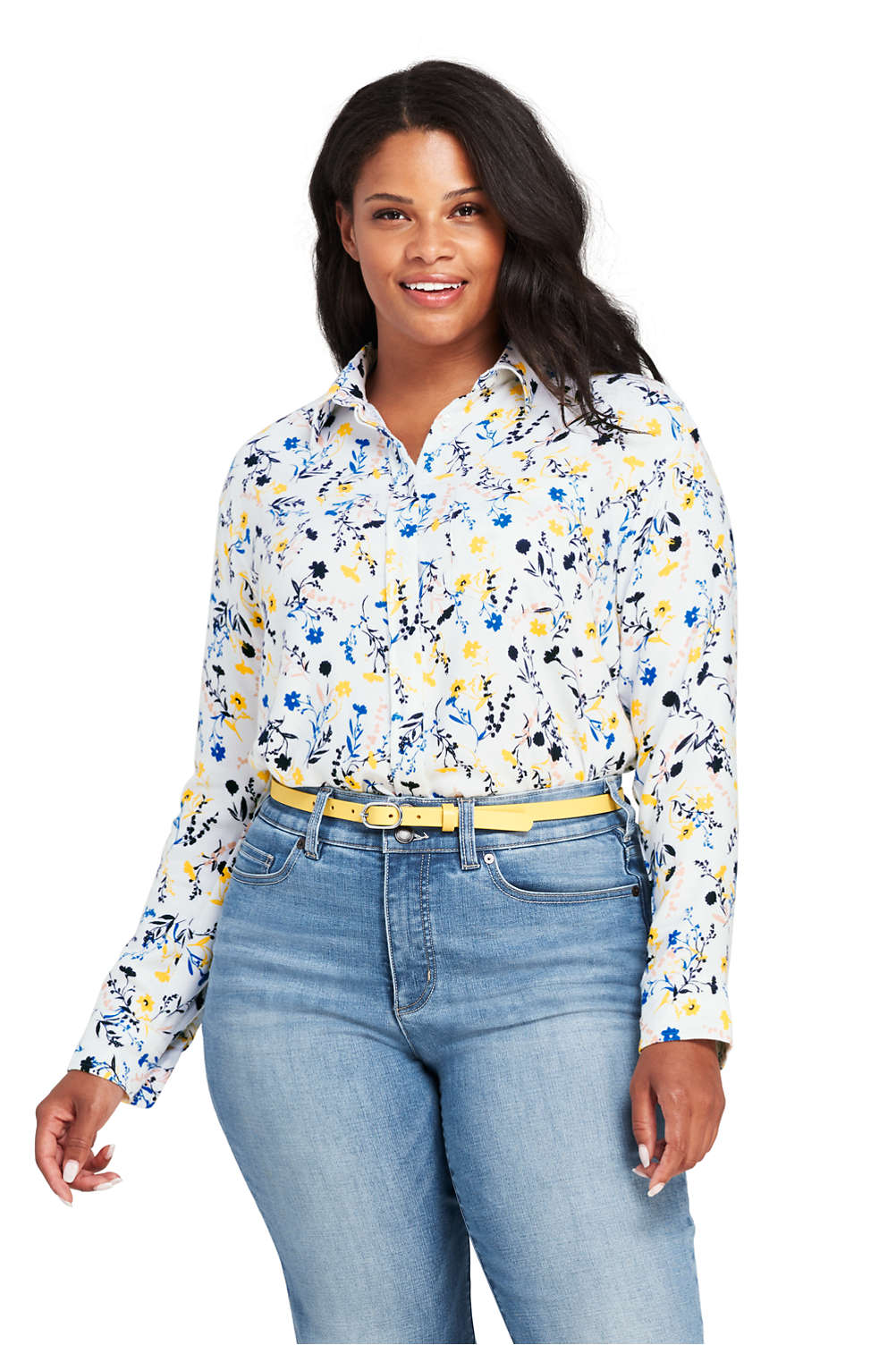 Womens Plus Size Brushed Rayon Collared Shirt From Lands End
