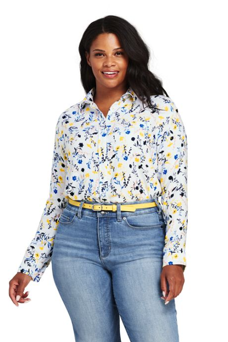 Women's Plus Size Brushed Rayon Collared Shirt