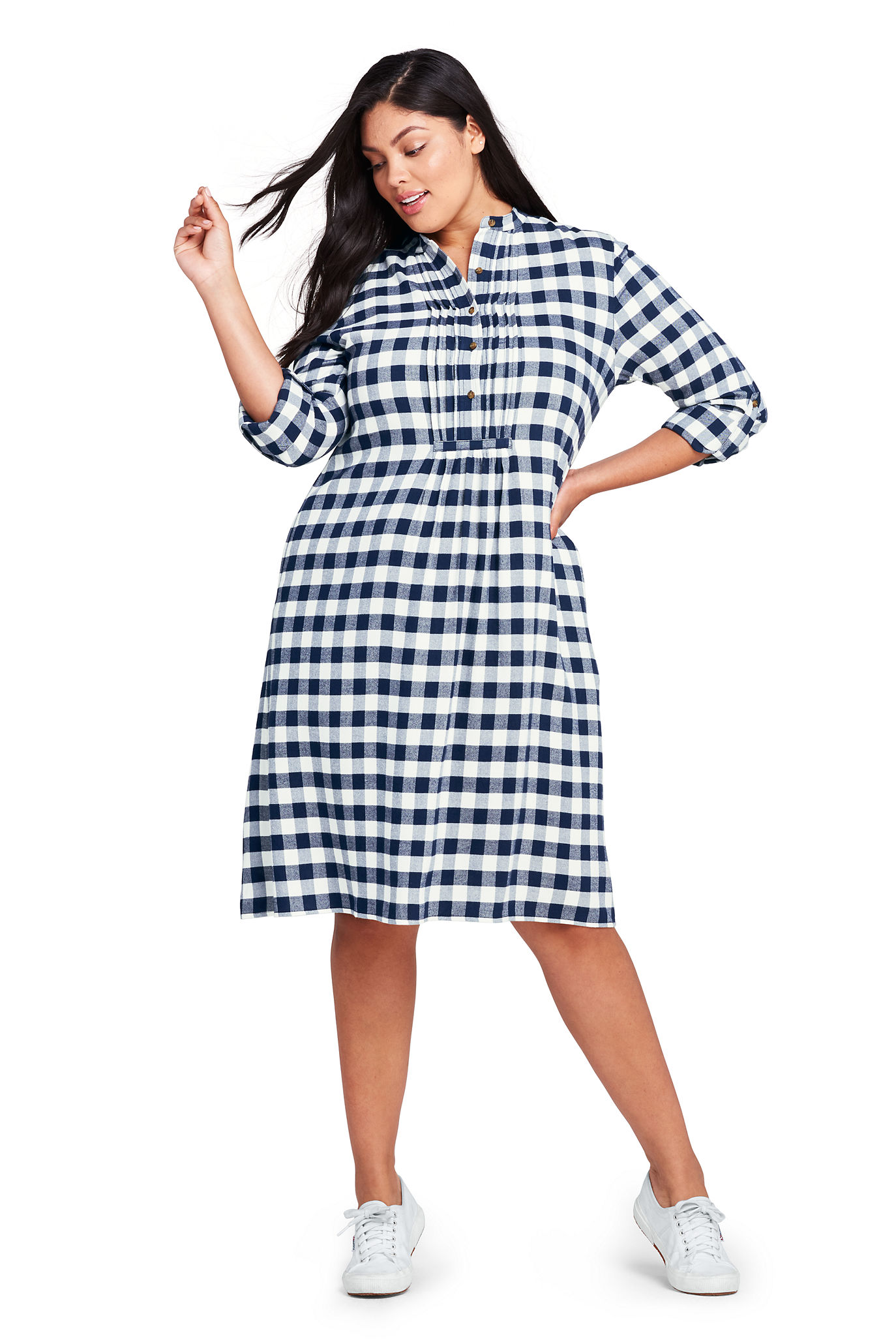 Women's Plus Size Long Sleeve Print Tuxedo Bib Shirt Dress