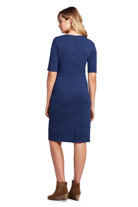 Women's Tall Ponte Knit Sheath Print Dress with Elbow Sleeves