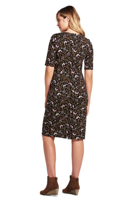 Women's Petite Ponte Knit Sheath Print Dress with Elbow Sleeves