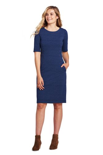 Women's Shift Dress in Patterned Ponte Jersey