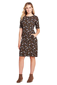 a006c7bc93 Women's Ponte Knit Sheath Print Dress with Elbow Sleeves