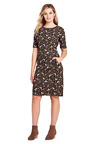fd4bfe64887b Women s Ponte Knit Sheath Print Dress with Elbow Sleeves