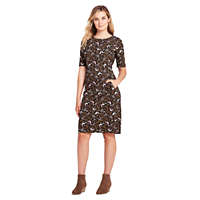 LandsEnd.com deals on Lands End Women's Ponte Knit Sheath Print Dress with Elbow Sleeves