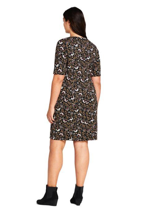 bddbeb69 ... Women's Plus Size Ponte Knit Sheath Print Dress with Elbow Sleeves