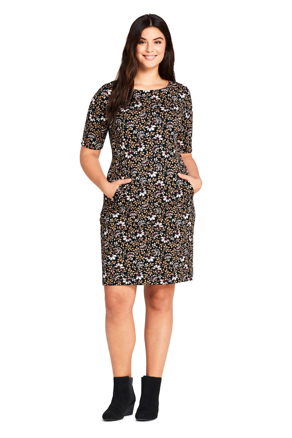 Women\'s Plus Size Ponte Knit Sheath Print Dress with Elbow Sleeves ...