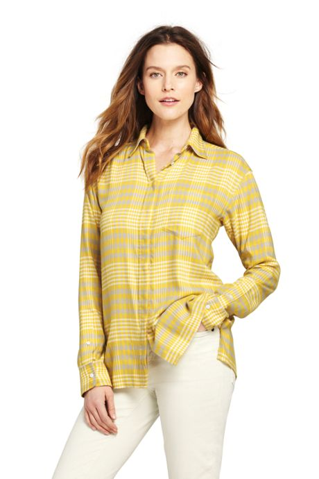 Women's Petite Brushed Rayon Collared Shirt