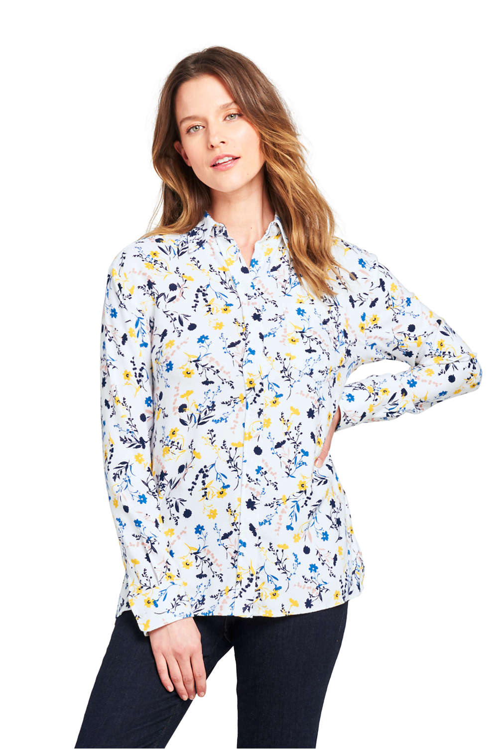 Womens Brushed Rayon Collared Shirt From Lands End