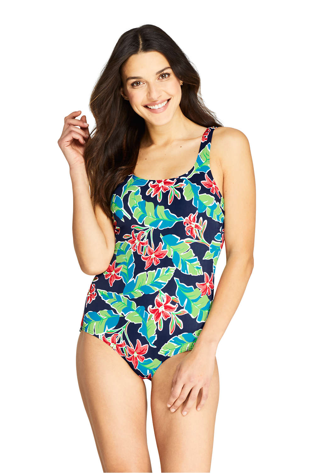 e9a14ee28e Women's Tugless One Piece Swimsuit Soft Cup Print from Lands' End