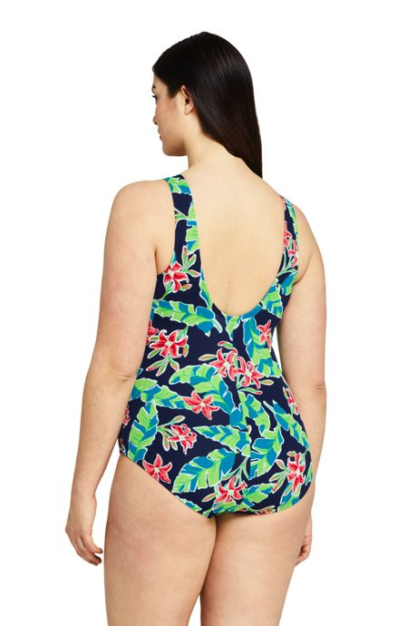 Women's Plus Size Tugless One Piece Swimsuit Soft Cup Print