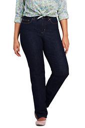 Lands' End Women's Plus Size Mid Rise Straight Fit Compression Jeans