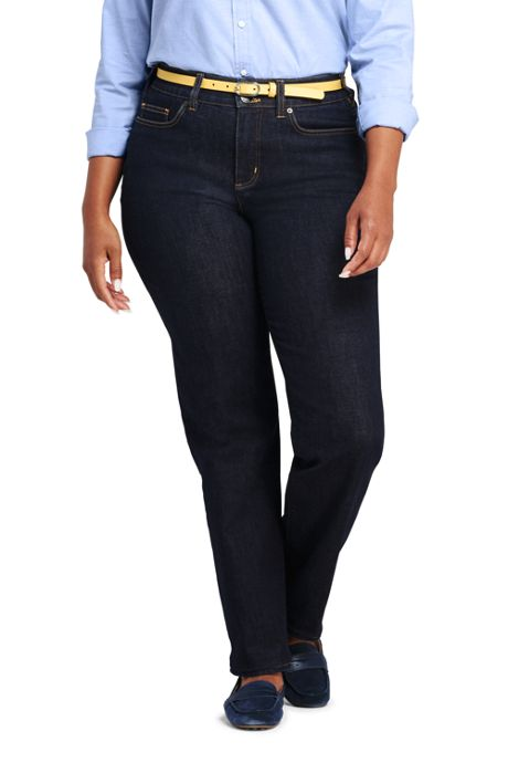 Women's Plus Size Mid Rise Straight Leg Slimming Compression Jeans - Blue