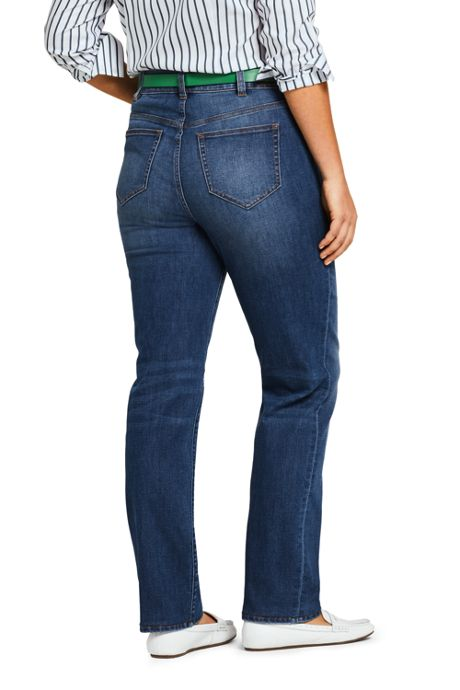 Women's Plus Size Mid Rise Straight Fit Shaping Blue Jeans