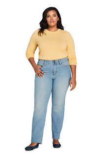 Women's Plus Size Mid Rise Straight Leg Slimming Compression Jeans - Blue, alternative image