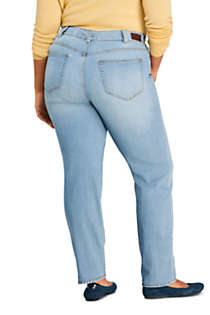Women's Plus Size Mid Rise Straight Leg Slimming Compression Jeans - Blue, Back