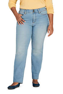 Women's Plus Size Mid Rise Straight Leg Slimming Compression Jeans - Blue, Front