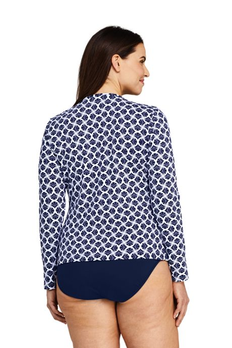 Women's Plus Size Long Sleeve Swim Tee Rash Guard Print