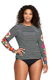 Women's Plus Size Long Long Sleeve Swim Tee Rash Guard Print