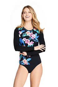 Women's Petite Long Sleeve Swim Tee Rash Guard Print