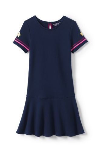 Girls' French Terry Drop Waist Graphic Dress