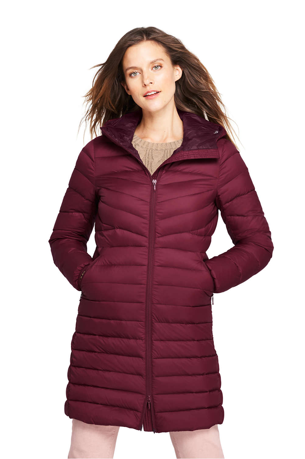 d5f61781dcd5 Women s Ultralight Packable Long Down Coat from Lands  End