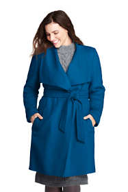 Women's Plus Size Belted Long Wool Coat