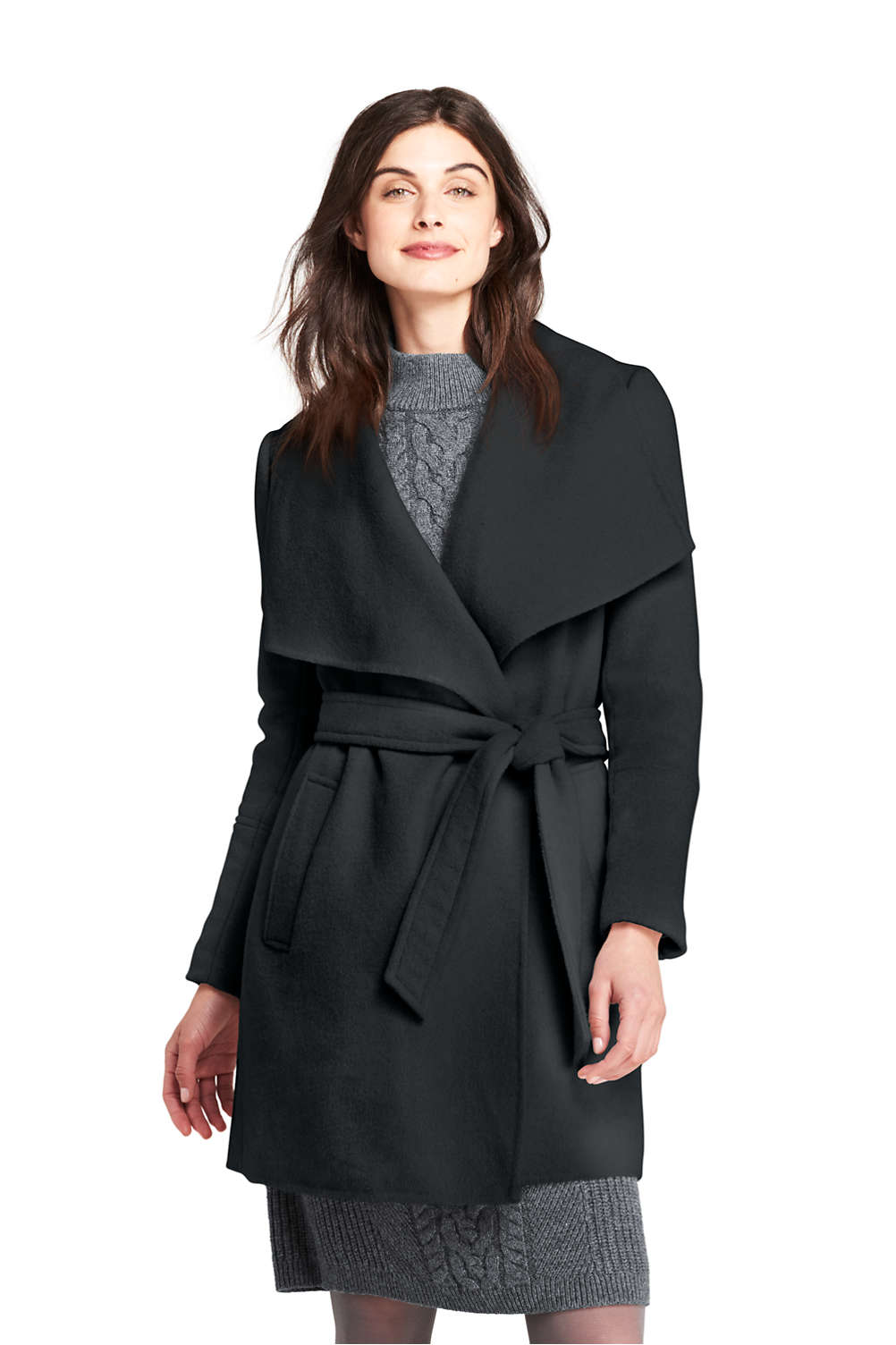 6183aca44ad8 Women's Belted Long Wool Coat from Lands' End