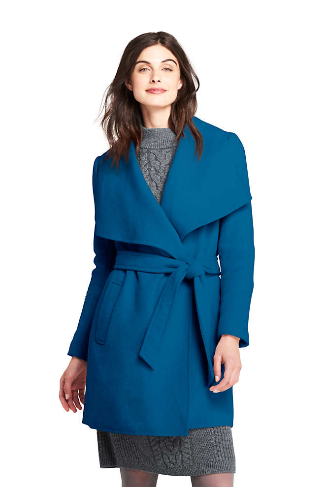 Women's Belted Long Wool Coat, Front