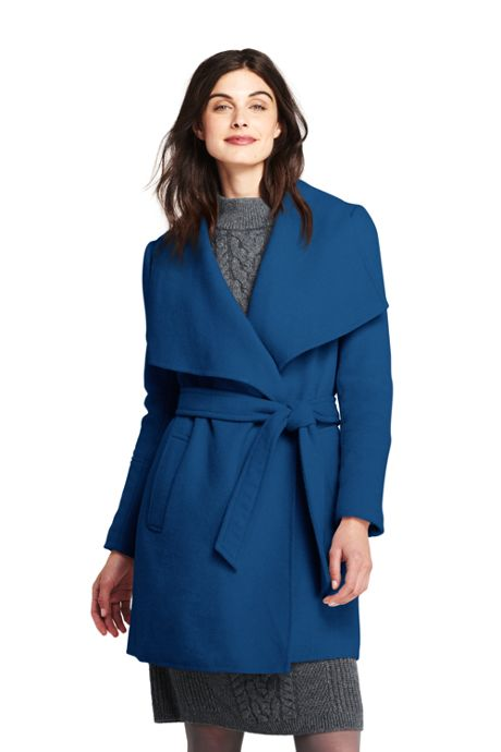 Women's Petite Belted Long Wool Coat