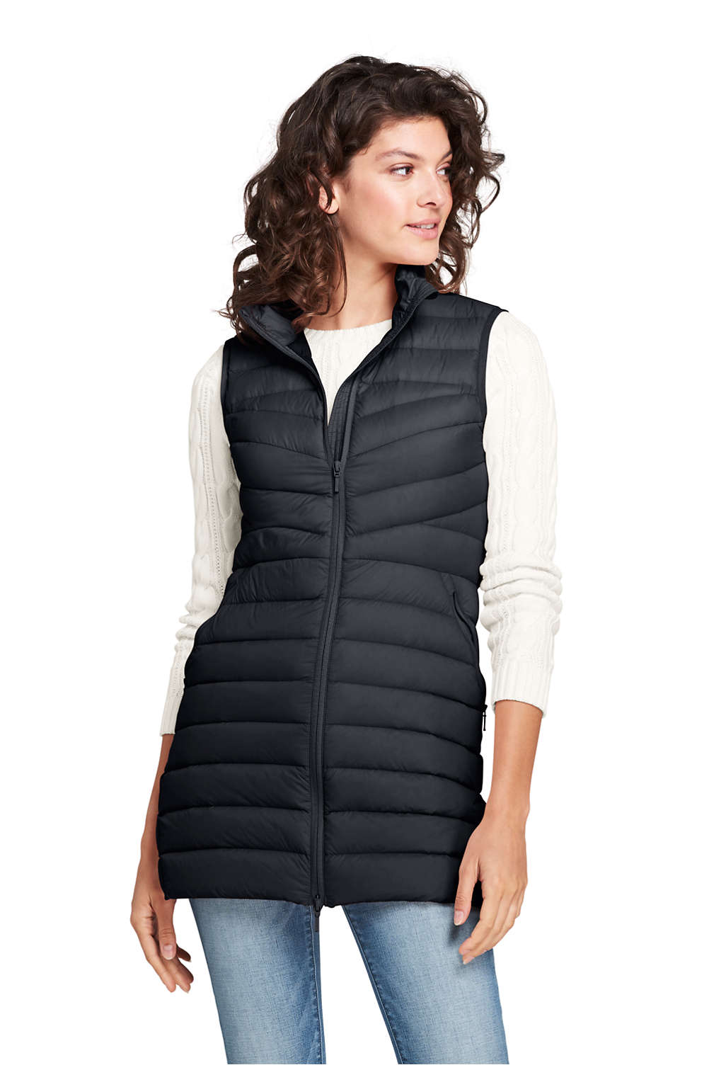 56d17b5613500 Women s Ultralight Long Down Puffer Vest Packable from Lands  End