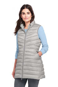 Women's Print Ultralight Long Down Vest Packable