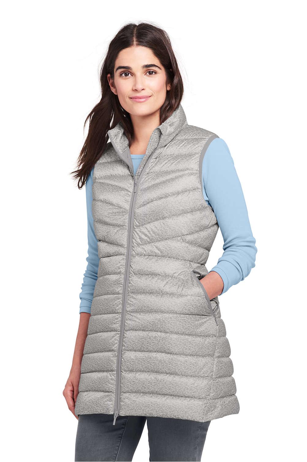 8c8eec6ffa623 Women s Print Ultralight Long Down Vest Packable from Lands  End