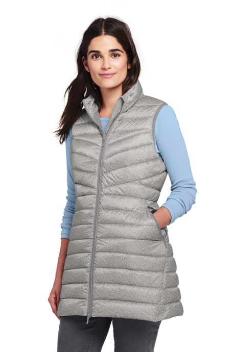 Women's Tall Print Ultralight Long Down Vest Packable